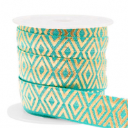 Elastisches Band Art Deco Turquoise-gold