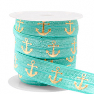 Elastisches Band Anker Turquoise-gold