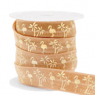 Elastisches Band Flamingo/Palmtree Camel brown-gold