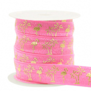 Elastisches Band Flamingo/Palmtree Pink-gold