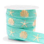 Elastisches Band Shell/Sea Star Turquoise-gold